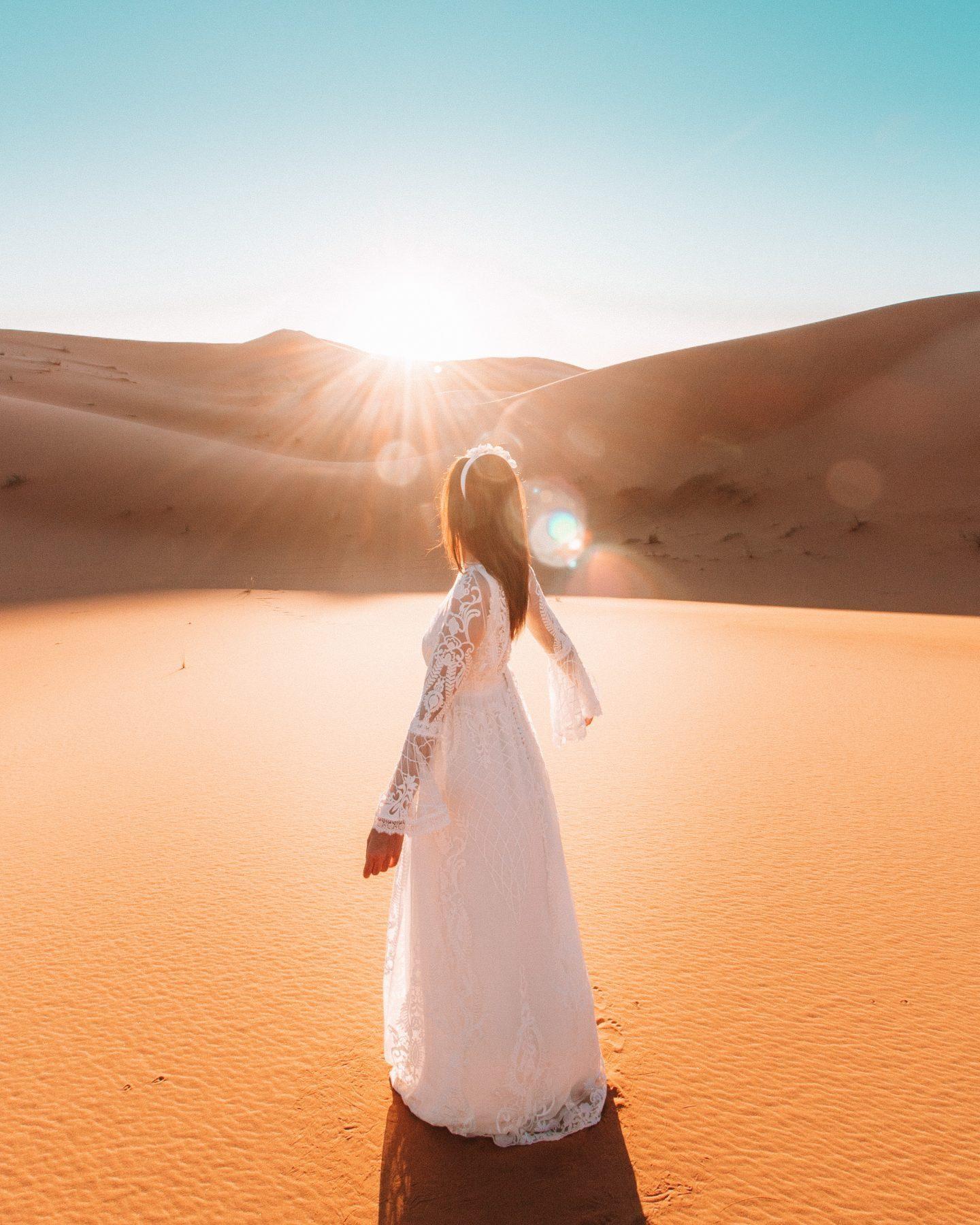 Sunrise Sahara sand dunes